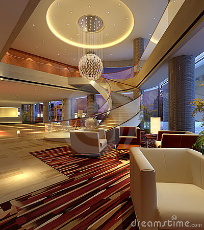 Free 3d Hotel Hall Rendering Stock Images - 17083004