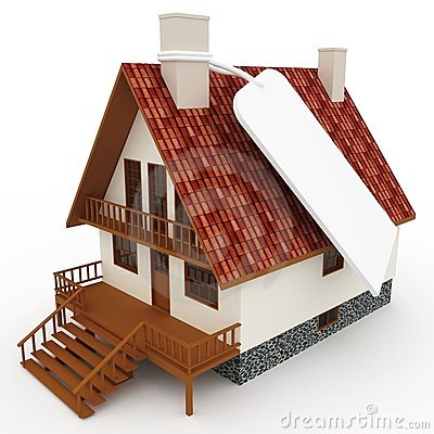3d house with blank price tag