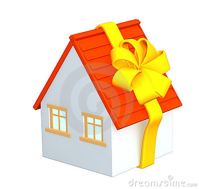 3d house - gift, wrapping a tape