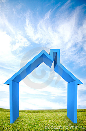 3D house illustration outdoors