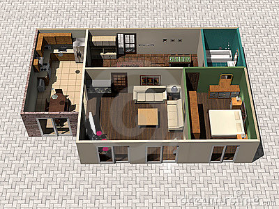 3D House Plan Stock Photo - Image: 4279670