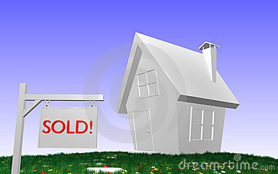 3D house with SOLD!-sign