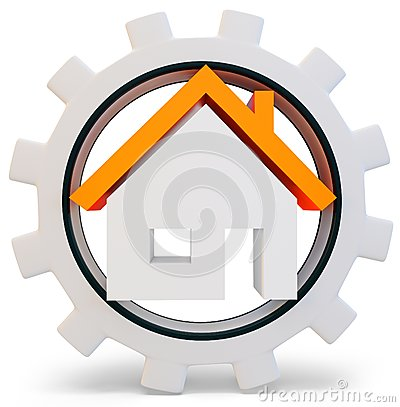 3d house symbol in a gear wheel