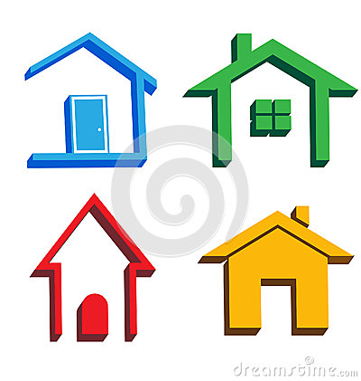 3D houses icons