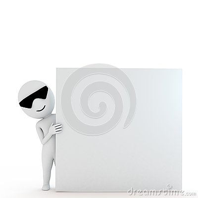 3d human with blank board