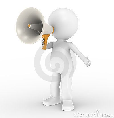 3d human character with megaphone Stock Photo
