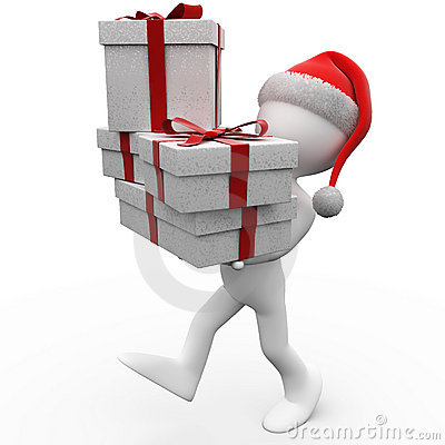 3D human with Christmas gifts and a Santa Claus ha