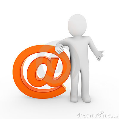 3d human email symbol orange