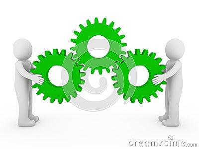 3d human gear machine green
