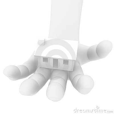 3D human hand with a house