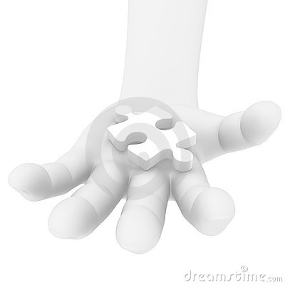 3D human hand with a puzzle piece