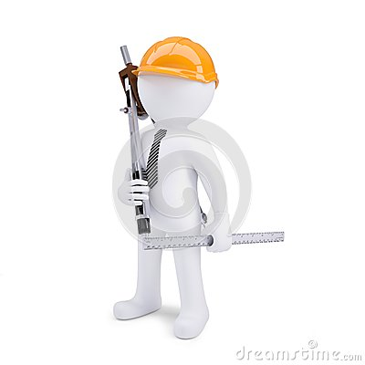 3d human in helmet with a ruler and calipers