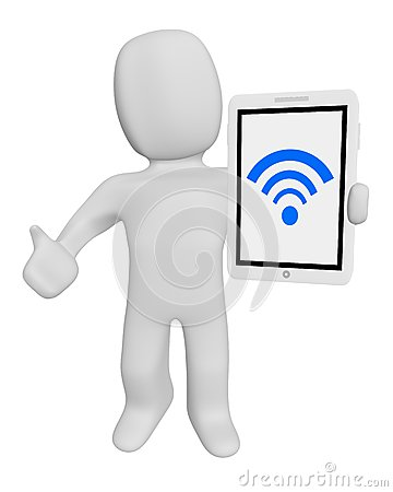 3d human hold tablet wifi