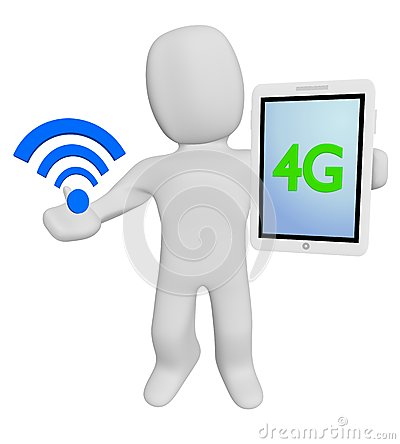 3d human hold wifi and 4G