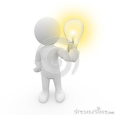 3D human holding light bulb