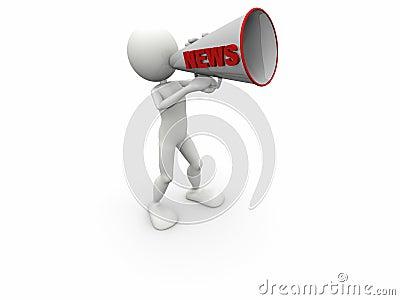 3d human news megaphone