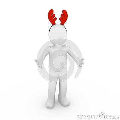 3d human reindeer horns red