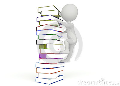 3d humanoid character climb on the books