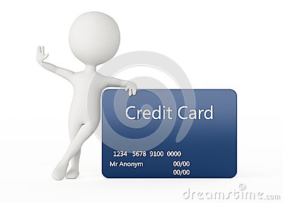 3d humanoid character with a credit card