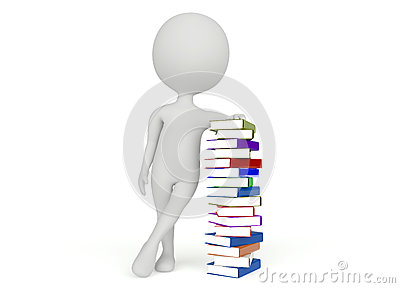 3d humanoid character with a pile of books