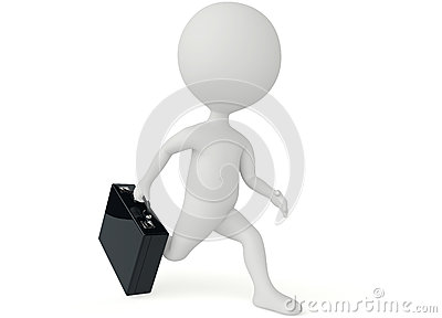3d humanoid character running with a briefcase