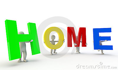 3D humans forming colorfull HOME word