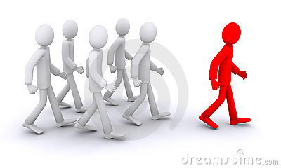 3d humans going with a leader