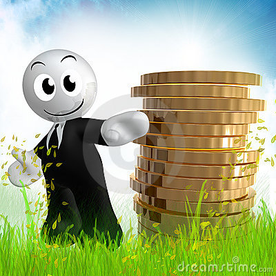 3d icon figure with gold coin piles
