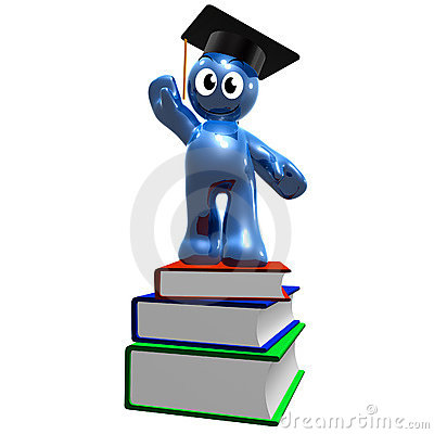 3d icon of graduation and books