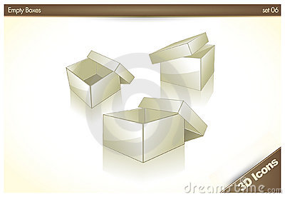 3D icons - Blank Empty Boxes - Set 06