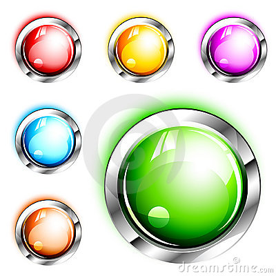 Free 3D Icons: Blank Glossy Push Buttons Stock Image - 11277321
