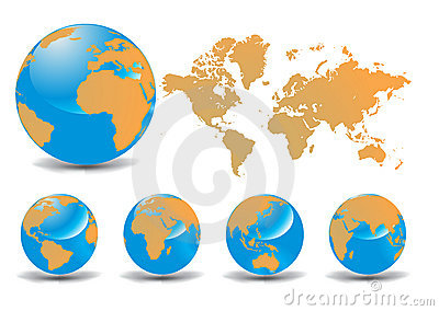 3D Icons: Glossy Earth Globes Different Views