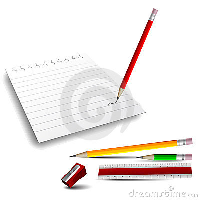 3D Icons: Note Paper, Pencils, Ruler and Sharpener