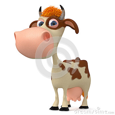 Free 3d Illustration A Cow With Horns Stock Images - 80432964