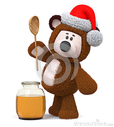 Free 3d Illustration Bear With Honey Jar Stock Photos - 95296393