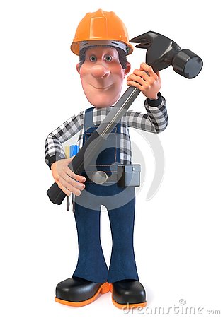 Free 3d Illustration Builder Worker In Overalls Royalty Free Stock Photos - 125406148