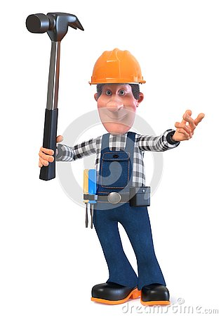 Free 3d Illustration Builder Worker In Overalls With Hammer Stock Images - 125414254