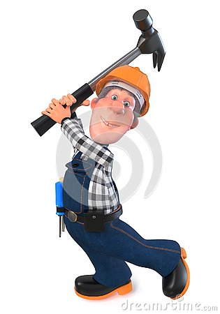 Free 3d Illustration Builder Worker In Overalls With Hammer Stock Image - 125427971