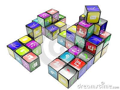3d an illustration color cubes