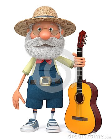 Free 3d Illustration Funny Farmer With A Guitar Stock Photo - 102210910