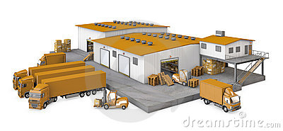 3d illustration of infrastructure warehouse with t