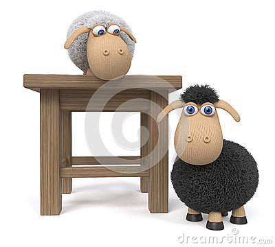 Free 3d Illustration Lamb With Stool Stock Image - 88720251