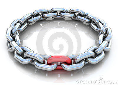 3d illustration of metal chain circle over white b