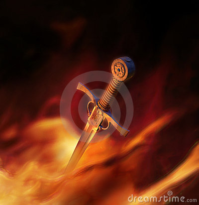 Free 3D Illustration Of A Medieval Sword In Fire Royalty Free Stock Photos - 18245948