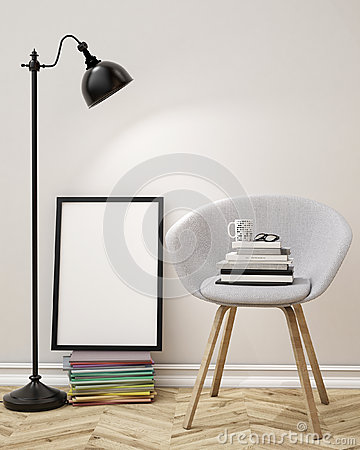 Free 3D Illustration Of Blank Poster On The Wall Of Living Room, Template Background Royalty Free Stock Images - 46281459