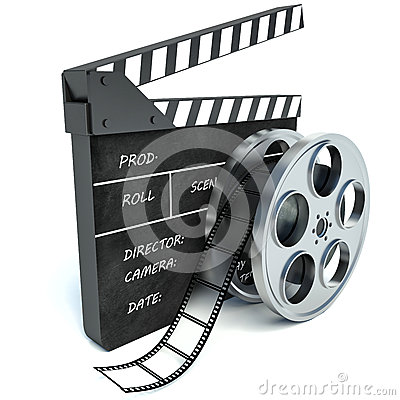 Free 3d Illustration Of Cinema Clap And Film Reel, Over White Stock Photo - 50070390