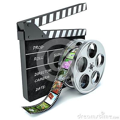 Free 3d Illustration Of Cinema Clap And Film Reel, Over White Stock Photo - 53296100