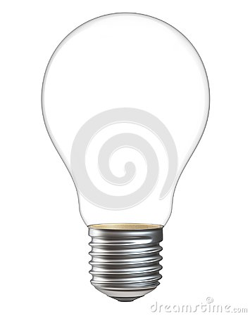 Free 3d Illustration Of Empty Light Bulb Isolated On White Background. Realistic 3d Rendering Of Electric Lamp Without Inside Royalty Free Stock Photo - 103349315