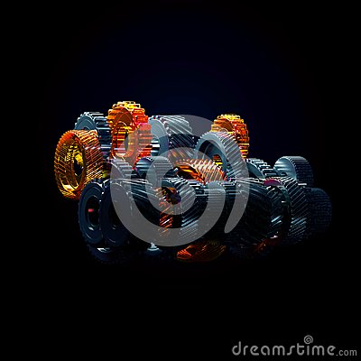 Free 3d Illustration Of Engine Gear Wheels, Closeup View Royalty Free Stock Photos - 116541268