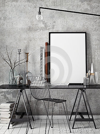Free 3D Illustration Of Poster Frame Template, Workspace Mock Up, Royalty Free Stock Photography - 65050587